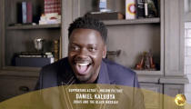 """In this video grab issued Sunday, Feb. 28, 2021, by NBC, Daniel Kaluuya accepts the award for best supporting actor in a motion picture for """"Judas and the Black Messiah"""" at the Golden Globe Awards. (NBC via AP)"""