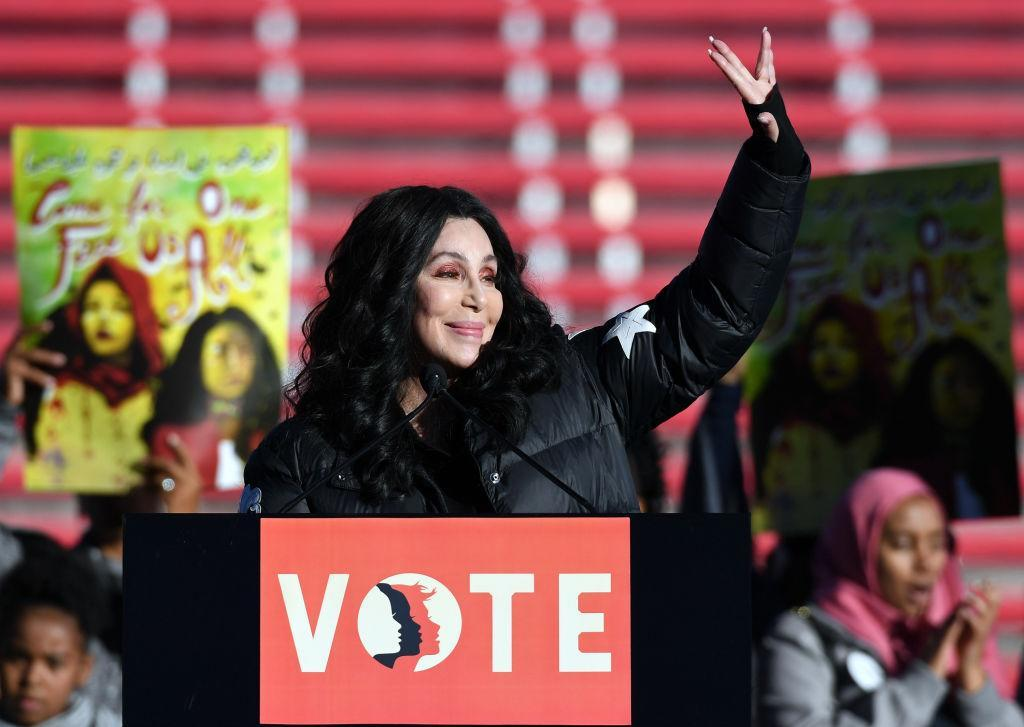 Cher speaks during the Power to the Polls Women's March voter registration tour launch at Sam Boyd Stadium on Jan. 21 in Las Vegas. (Photo: Getty Images)