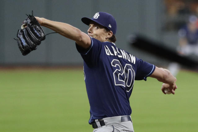 Tampa Bay Rays starter Tyler Glasnow delivers a pitch to a Houston Astros batter during the first inning of Game 5 of a baseball American League Division Series in Houston, Thursday, Oct. 10, 2019. (AP Photo/Eric Gay)
