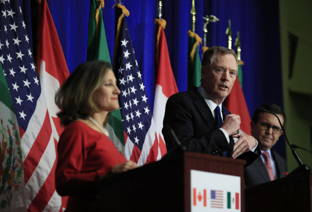 Trade representatives from the US, Mexico, and Canada at the latest round of NAFTA negotiations. The talks did not go well, and they will extend into 2018. (AP Photo/Manuel Balce Ceneta)