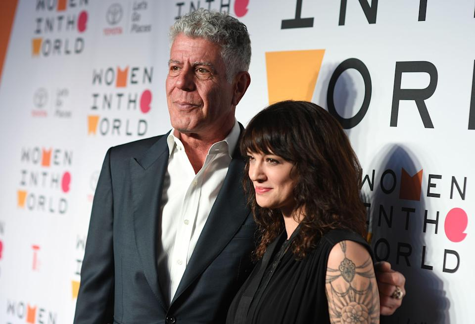 Anthony Bourdain and Asia Argento at the 2018 Women in the World Summit at Lincoln Center in New York City.