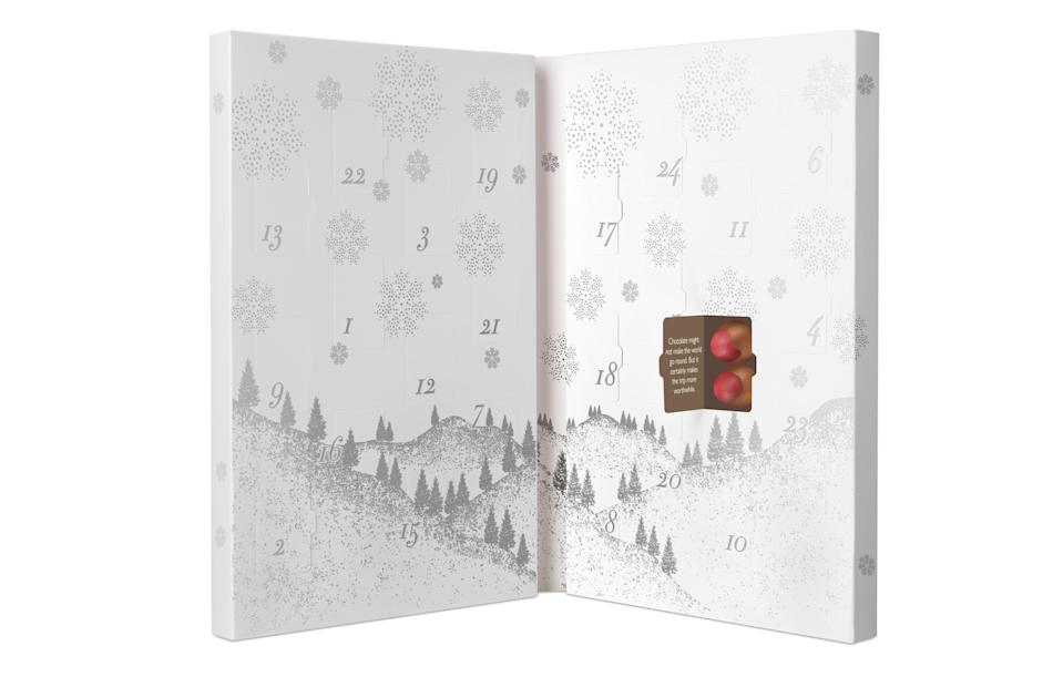 "<p>Any couple will enjoy this special double calendar which features two delicious truffles behind every window. Or you can just keep them all to yourself.<br><a href=""http://www.hotelchocolat.com/uk/advent-for-two.html#start=5"" rel=""nofollow noopener"" target=""_blank"" data-ylk=""slk:Hotel Chocolat, £26"" class=""link rapid-noclick-resp""><i>Hotel Chocolat, £26</i></a> </p>"