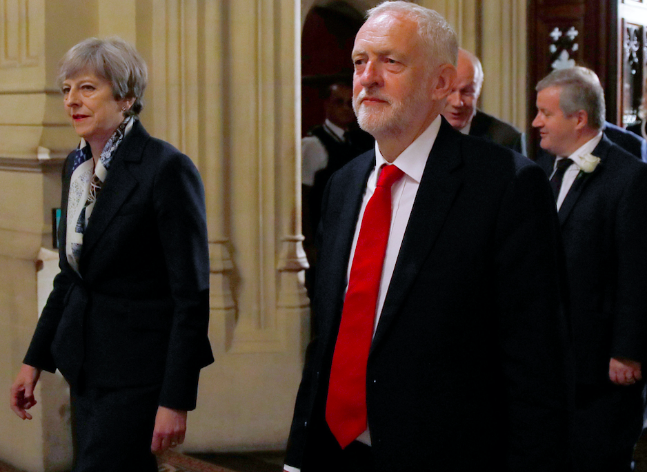 <em>Mrs May still enjoys a lead over Mr Corbyn in who would make the best PM (Getty)</em>