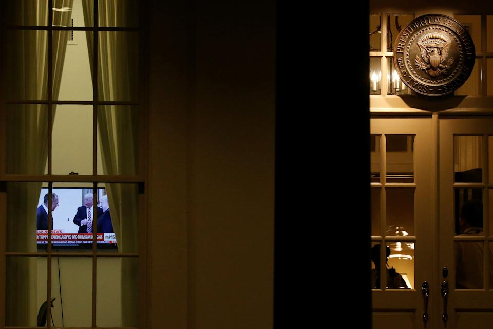A television inside the White House on Monday night is tuned to an MSNBC report on Trump disclosing highly classified information to Russian officials. (Photo: Jonathan Ernst / Reuters)