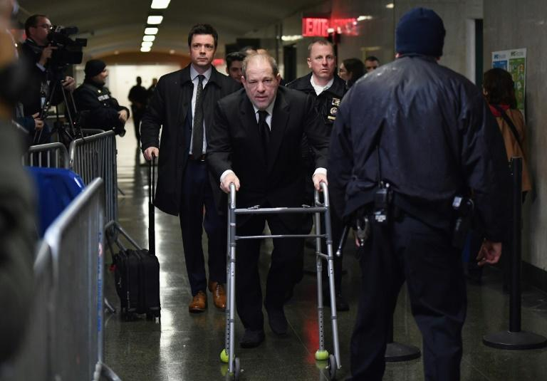 Harvey Weinstein enters Manhattan Criminal Court, on January 16, 2020, in New York City