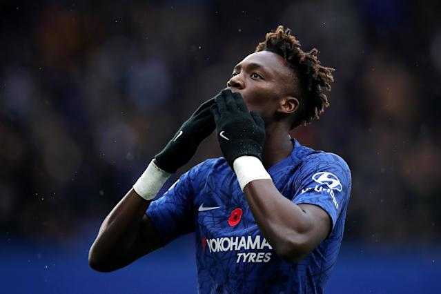 Tammy Abraham celebrates the opener against Crystal Palace. (Photo by Chris Lee - Chelsea FC/Chelsea FC via Getty Images)