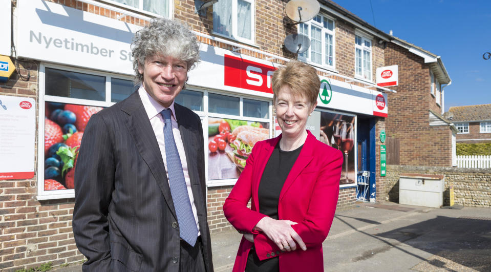 Tim Parker, Post Office chairman and Paula Vennells, former Post Office chief executive at the opening of the Nyetimber Post Office branch in Sussex. Photo: PA
