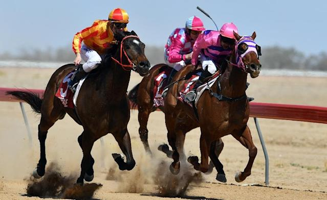 """During the annual races, now in their 136th year, the Queensland town of Birdsville hosts more than 6,000 racegoers who travel days and weeks to watch the """"Melbourne Cup of the outback"""" (AFP Photo/Saeed KHAN)"""