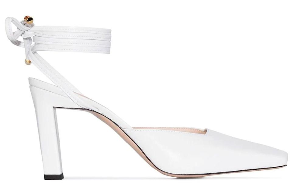 white heels, pumps, ankle wrap, wandler