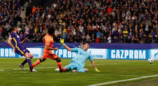 Soccer Football - Champions League - Maribor vs Liverpool - Ljudski vrt, Maribor, Slovenia - October 17, 2017 Liverpool's Mohamed Salah scores their third goal Action Images via Reuters/Paul Childs