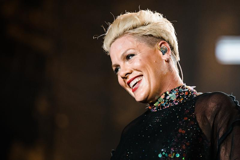 P!nk performs live on stage during day 6 of Rock In Rio Music Festival at Cidade do Rock on October 5, 2019 in Rio de Janeiro, Brazil. (Photo by Mauricio Santana/Getty Images)