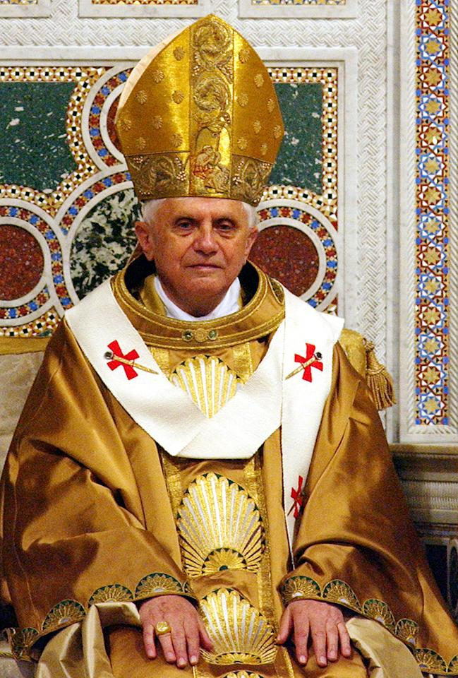 Pope Benedict XVI presides over his installation mass at the Basilica of St John Lateran May 7, 2005 in Rome, Italy. The Pope completed his papal installation at the cathedral he precided over as Bishop of Rome.  (Photo by Franco Origlia/Getty Images)