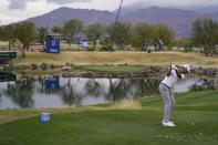 Max Homa hits from the 17th tee during the third round of The American Express golf tournament on the Pete Dye Stadium Course at PGA West, Saturday, Jan. 23, 2021, in La Quinta, Calif. (AP Photo/Marcio Jose Sanchez)