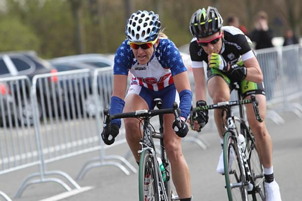 Kristin Armstrong leads the breakway with Judith Arndt at the 2012 Tour of Flanders