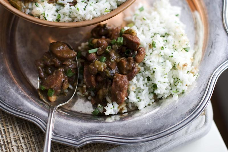 In this image taken on Jan. 28, 2013, red beans and rice with andouille sausage is shown in Concord, N.H. (AP Photo/Matthew Mead)