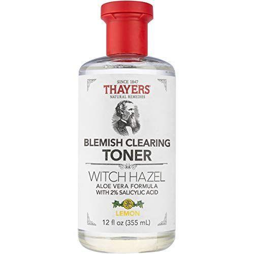 """<p><strong>THAYERS</strong></p><p>amazon.com</p><p><strong>$14.99</strong></p><p><a href=""""https://www.amazon.com/dp/B082G1FSWR?tag=syn-yahoo-20&ascsubtag=%5Bartid%7C10055.g.36387410%5Bsrc%7Cyahoo-us"""" rel=""""nofollow noopener"""" target=""""_blank"""" data-ylk=""""slk:Shop Now"""" class=""""link rapid-noclick-resp"""">Shop Now</a></p><p>Thayers is known for their witch hazel toners, and this formula is <strong>boosted with aloe vera and salicylic acid to fight breakouts and sooth skin</strong>. """"I am happy with the results,"""" one reviewer says. """"I would recommend this to those with oily skin who tend to have break outs. It may be too harsh for those with dry or sensitive skin.""""</p>"""