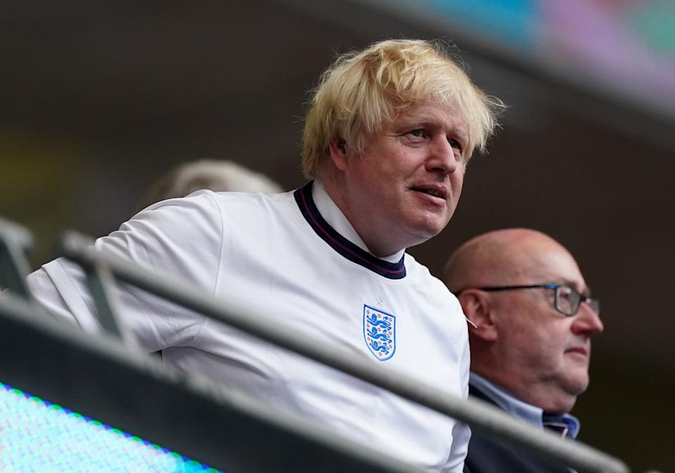 Prime Minister Boris Johnson during the UEFA Euro 2020 Final at Wembley Stadium, London. Picture date: Sunday July 11, 2021.