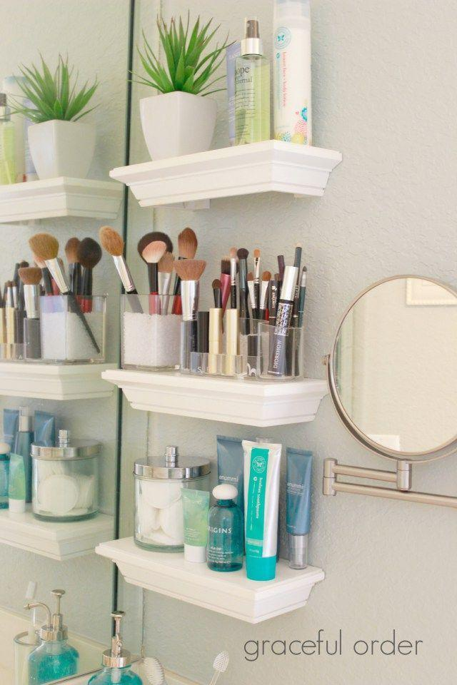 """<p>Don't even have enough space in your bathroom for toilet-adjacent shelves? Install a few super-small shelves by the mirror for toiletries and makeup. </p><p><a href=""""http://gracefulorder.com/2014/06/28/organizing-small-bathroom-sinks/"""" rel=""""nofollow noopener"""" target=""""_blank"""" data-ylk=""""slk:See more at Graceful Order »"""" class=""""link rapid-noclick-resp""""><em>See more at Graceful Order »</em></a></p>"""