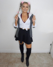 """<p>Throw it back to the OG Britney look with this getup straight out of the music video for her first hit single """"Baby One More Time."""" </p><p><a class=""""link rapid-noclick-resp"""" href=""""https://www.amazon.com/Small-Fuzzy-Scrunchies-Furry-Holder/dp/B07Y43WYD7/?tag=syn-yahoo-20&ascsubtag=%5Bartid%7C10072.g.37059504%5Bsrc%7Cyahoo-us"""" rel=""""nofollow noopener"""" target=""""_blank"""" data-ylk=""""slk:SHOP SCRUNCHIES"""">SHOP SCRUNCHIES</a></p>"""