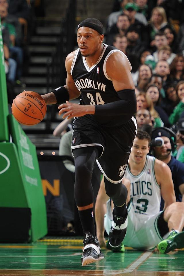 BOSTON, MA - MARCH 7: Paul Pierce #34 of the Brooklyn Nets handles the ball against the Boston Celtics on March 7, 2014 at the TD Garden in Boston, Massachusetts. (Photo by Brian Babineau/NBAE via Getty Images)