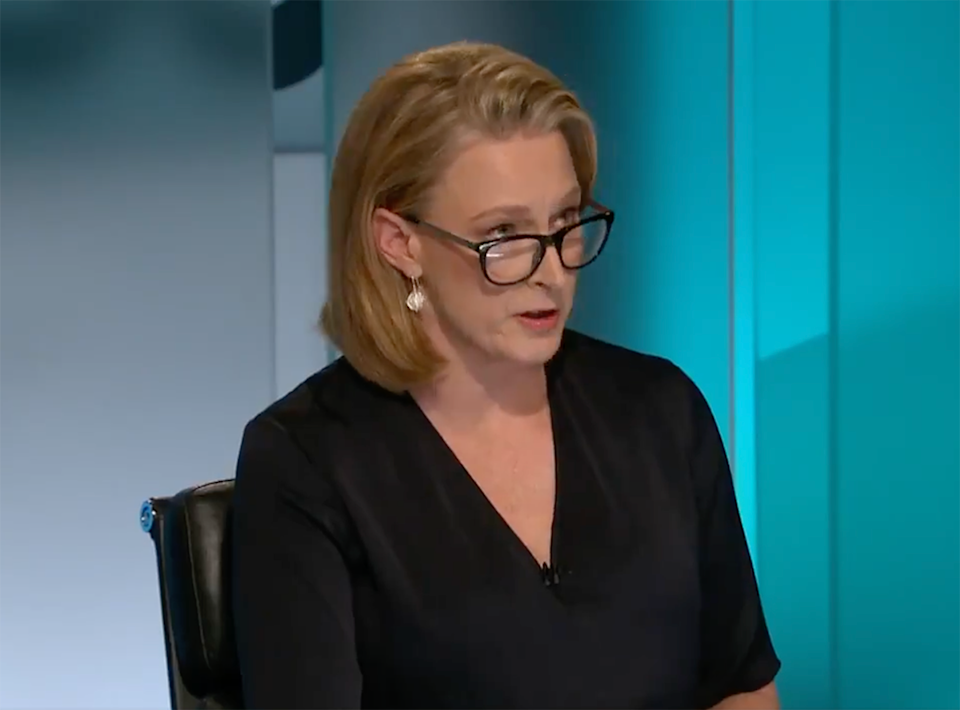 Leigh Sales interviewing Scott Morrison on ABC 7.30.