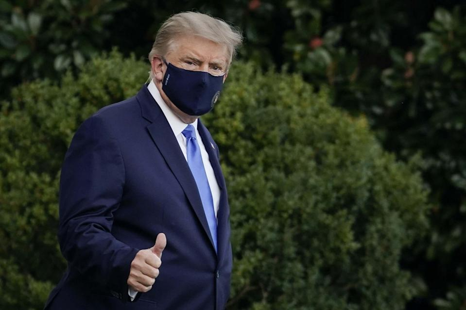 Donald Trump leaves the White House for Walter Reed National Military Medical Center: Getty Images