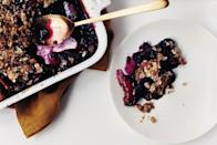 """Using both blueberries and blackberries in addition to plums makes for one intensely colored crisp. <a href=""""https://www.epicurious.com/recipes/food/views/plum-berry-crisp-239245?mbid=synd_yahoo_rss"""" rel=""""nofollow noopener"""" target=""""_blank"""" data-ylk=""""slk:See recipe."""" class=""""link rapid-noclick-resp"""">See recipe.</a>"""
