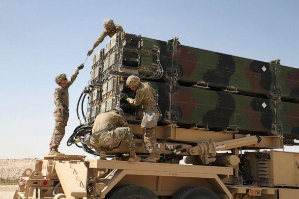 PHOTO: Soldiers from Battery C, 43rd Air Defense Artillery Regiment work together to prepare a Patriot missile launcher for reloading March 7, 2019. (Zachary Mott/U.S. Army)