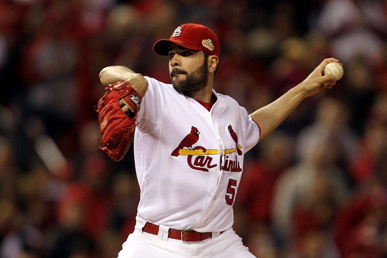 ST LOUIS, MO - OCTOBER 20:  Jaime Garcia #54 of the St. Louis Cardinals pitches in the first inning during Game Two of the MLB World Series against the Texas Rangers at Busch Stadium on October 20, 2011 in St Louis, Missouri.  (Photo by Ezra Shaw/Getty Images)