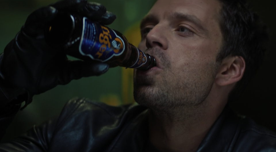 Bucky Barnes (Sebastian Stan) drinking Singapore's Tiger Beer in The Falcon And The Winter Soldier on Disney Plus.
