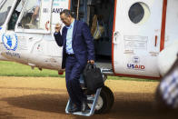 """FILE - In this Saturday, June 15, 2019 file photo, World Health Organization Director-General Tedros Adhanom Ghebreyesus arrives by helicopter at Ruhenda airport in Butembo, eastern Congo, to visit operations aimed at preventing the spread of Ebola and treating its victims. As WHO faces allegations that unnamed staffers were involved in the systemic sexual abuse of women, Tedros has declared he was """"outraged,"""" and emergencies director Dr. Michael Ryan said, """"We have no more information than you have."""" But an AP investigation has found that senior WHO management was not only informed of specific cases of alleged sexual misconduct in 2019, but was asked how to handle them. (AP Photo/Kudra Maliro)"""
