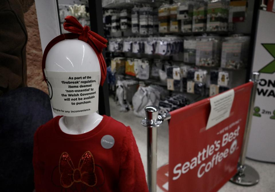 BLACKWOOD, WALES - OCTOBER 24: A general view of a supermarket which has used mannequins and advertisements to cordon off non essential goods which are restricted from sale under the Welsh firebreak lockdown restrictions on October 24, 2020 in Blackwood, Wales. (Photo by Huw Fairclough/Getty Images)