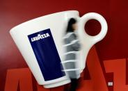 FILE PHOTO: Lavazza's espresso coffee cup installation is seen at the headquarters in Turin