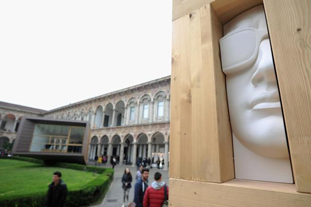 MILAN, ITALY - APRIL 09: 'Sguardi Indiscreti' by Michele de Lucchi is displayed during 'Hybrid Architecture & Design'at Universita degli Studi on April 9, 2013 in Milan, Italy. (Photo by Pier Marco Tacca/Getty Images)