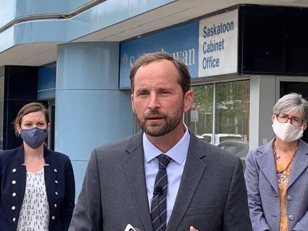 Saskatchewan's Opposition Leader Ryan Meili at a news conference in Saskatoon on Friday. He asked Premier Scott Moe to resume the legislative assembly early for an emergency sitting. (CBC/Theresa Kliem - image credit)