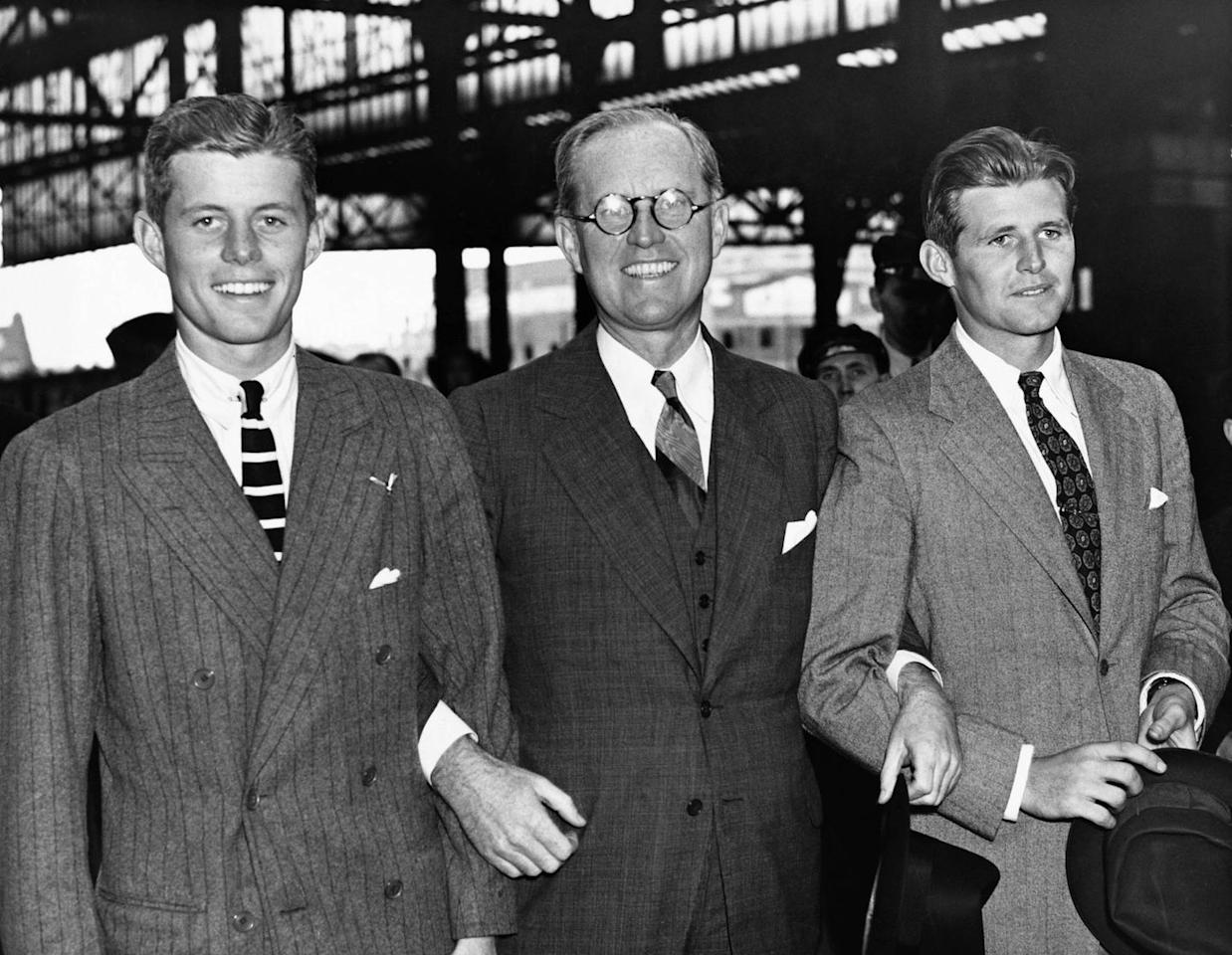 <p>Joseph P. Kennedy, the American ambassador to Great Britain, meets his sons John and Joe on July 4, 1938.</p>