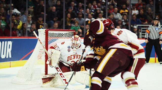 Denver goalie Tanner Jaillet is in a strong position to win the Mike Richer Award. (Getty)