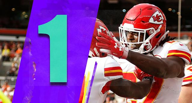 <p>When you review the totality of the Saints', Rams' and Chiefs' resumes, K.C. earned this ranking. The Chiefs are No. 1 for now, though the margin is razor-thin among the top three teams. (Kareem Hunt, Tyreek Hill) </p>