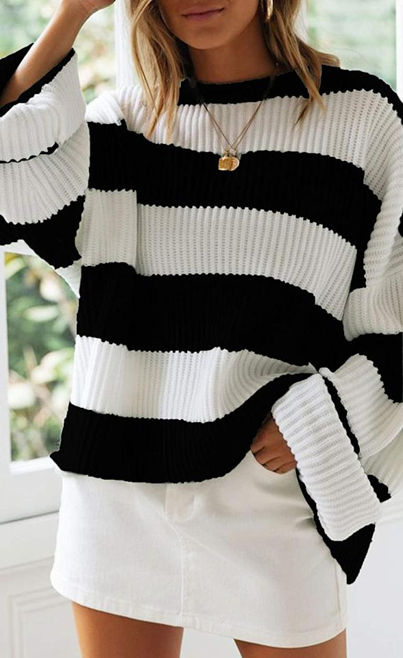 "<p>This <product href=""https://www.amazon.com/ZESICA-Striped-Oversized-Knitted-Pullover/dp/B07W59MT1T/ref=zg_bsms_fashion_3?_encoding=UTF8&amp;psc=1&amp;refRID=J6PWJKF7DFFVC965WKKQ"" target=""_blank"" class=""ga-track"" data-ga-category=""internal click"" data-ga-label=""https://www.amazon.com/ZESICA-Striped-Oversized-Knitted-Pullover/dp/B07W59MT1T/ref=zg_bsms_fashion_3?_encoding=UTF8&amp;psc=1&amp;refRID=J6PWJKF7DFFVC965WKKQ"" data-ga-action=""body text link"">Zesica Striped Sweater</product> ($31) has been rising in sales this week.</p>"