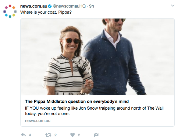 Australian news outlets find the British tolerance for cold fascinating. (Photo: Twitter)