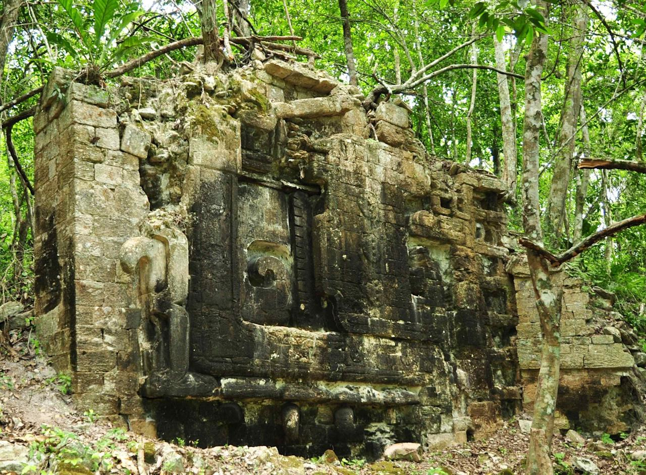 "A photograph released to Reuters on August 22, 2014 shows the remains of an ancient Mayan city in Lagunita May 30, 2014. Archaeologists have found two ancient Mayan cities hidden in the jungle of southeastern Mexico, and lead researcher Ivan Sprajc, an associate professor at the Research Center of the Slovenian Academy of Sciences and Arts, says he believes there are ""dozens"" more to be found in the region. Picture taken May 30, 2014. REUTERS/Research Center of the Slovenian Academy of Sciences and Arts/Handout via Reuters (MEXICO - Tags: SOCIETY) NO SALES. NO ARCHIVES. FOR EDITORIAL USE ONLY. NOT FOR SALE FOR MARKETING OR ADVERTISING CAMPAIGNS. THIS IMAGE HAS BEEN SUPPLIED BY A THIRD PARTY. IT IS DISTRIBUTED, EXACTLY AS RECEIVED BY REUTERS, AS A SERVICE TO CLIENTS"