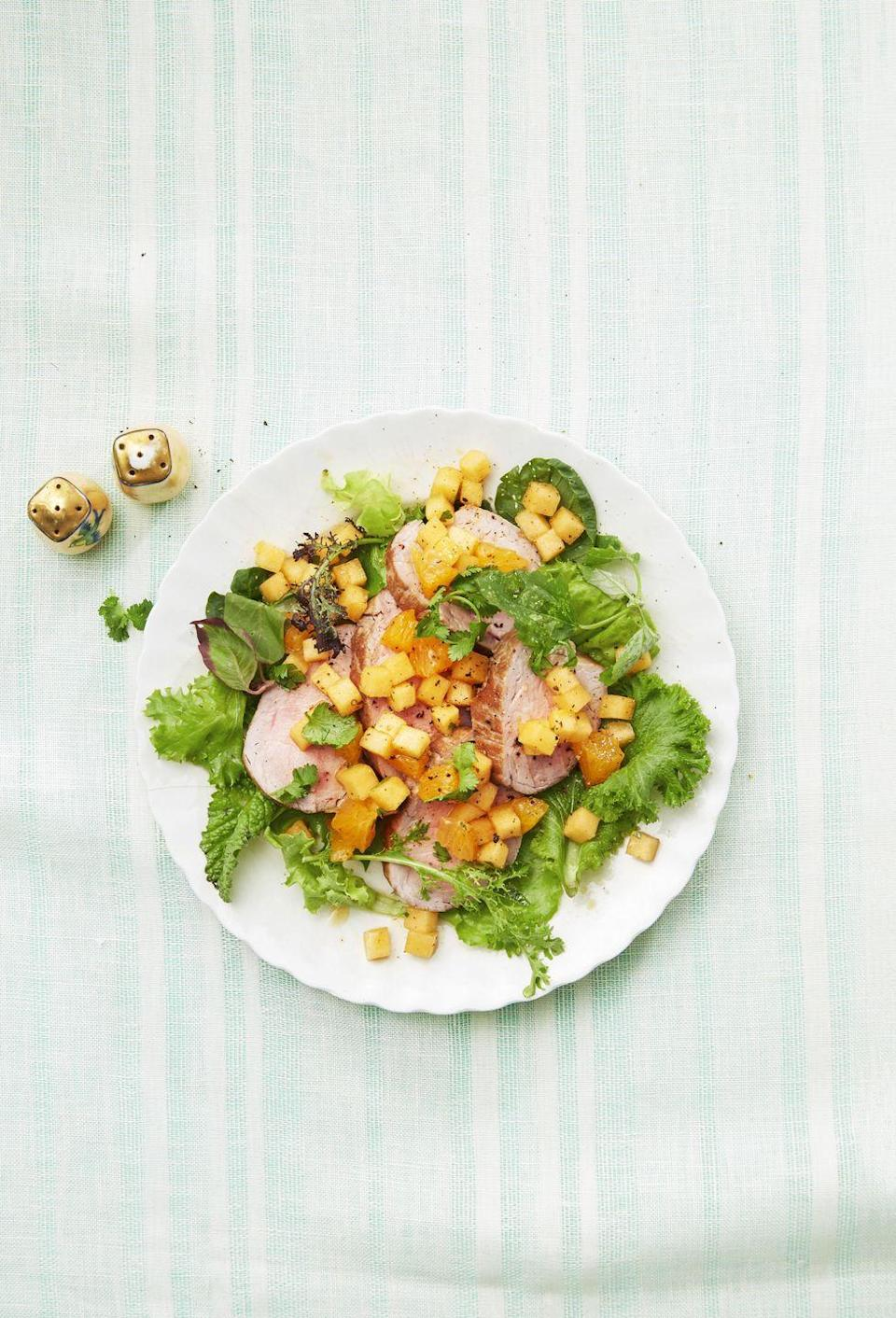 "<p>No matter the season, escape to the tropics with this sweet, fruity main.</p><p><a href=""https://www.goodhousekeeping.com/food-recipes/easy/a34132/pork-tenderloin-with-melon-salsa/"" rel=""nofollow noopener"" target=""_blank"" data-ylk=""slk:Get the recipe for Pork Tenderloin with Melon Salsa »"" class=""link rapid-noclick-resp""><em>Get the recipe for Pork Tenderloin with Melon Salsa »</em></a></p>"