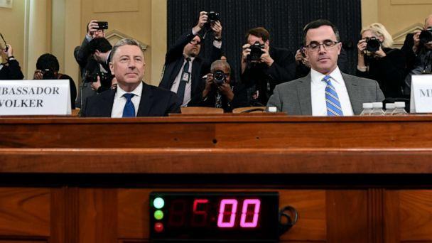PHOTO: Ambassador Kurt Volker, former special envoy to Ukraine, left, and Tim Morrison, a former official at the National Security Council, arrive to testify before the House Intelligence Committee on Capitol Hill, Nov. 19, 2019. (Susan Walsh/AP)