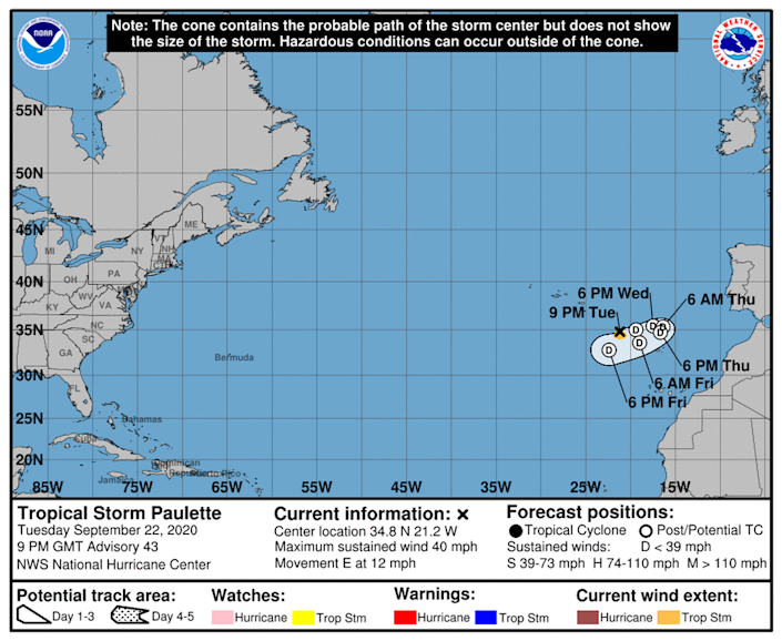 Tropical Storm Paulette is expected to dissolve within the week.
