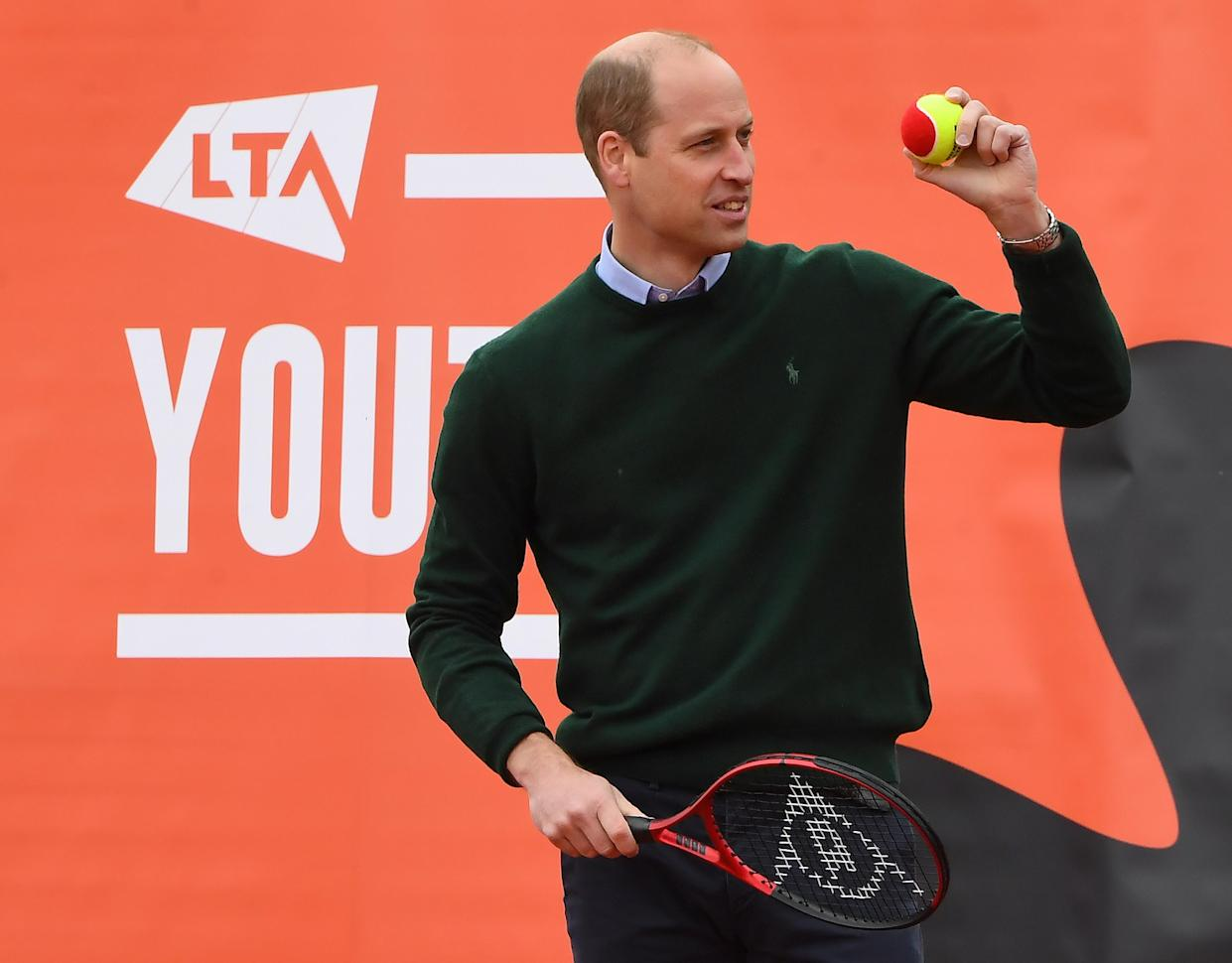 EDINBURGH, SCOTLAND - MAY 27: Prince William, Duke of Cambridge plays tennis games with local schoolchildren as he takes part in the Lawn Tennis Association's (LTA) Youth programme, at Craiglockhart Tennis Centre on May 26, 2021 in Edinburgh, Scotland. (Photo by Andy Buchanan - WPA Pool/Getty Images)