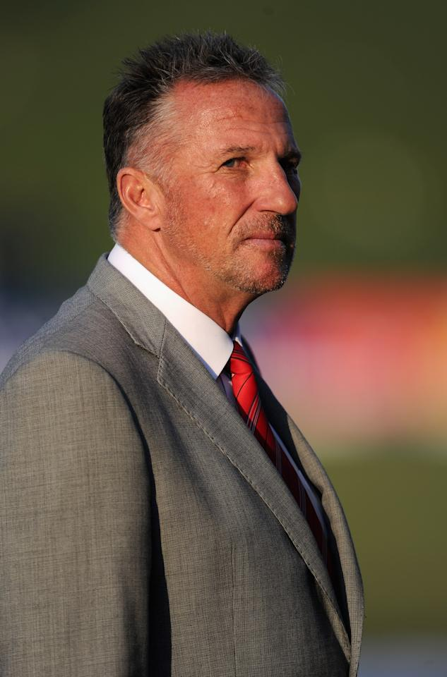 ABU DHABI, UNITED ARAB EMIRATES - JANUARY 27:  Former England cricketer and television pundit Sir Ian Botham during the second Test match between Pakistan and England at Sheikh Zayed Stadium on January 27, 2012 in Abu Dhabi, United Arab Emirates.  (Photo by Gareth Copley/Getty Images)