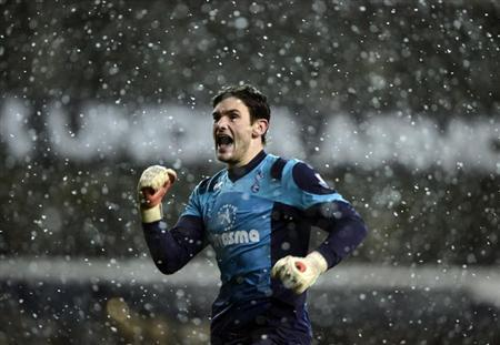 Tottenham Hotspur's Lloris reacts after Dempsey scored against Manchester United during their Premier League soccer match at White Hart Lane in London