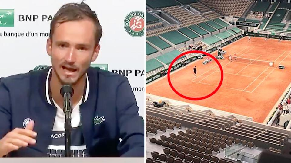Seen here, Daniil Medvedev in his press conference and the quarter-final in front of an empty stadium.
