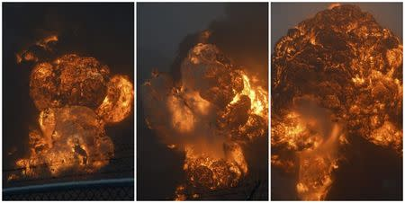 A combination photo shows a sequence of an explosion erupting from a CSX Corp train derailment in Mount Carbon, West Virginia pictured across the Kanawha River in Boomer, West Virginia February 16, 2015. REUTERS/Steve Keenan