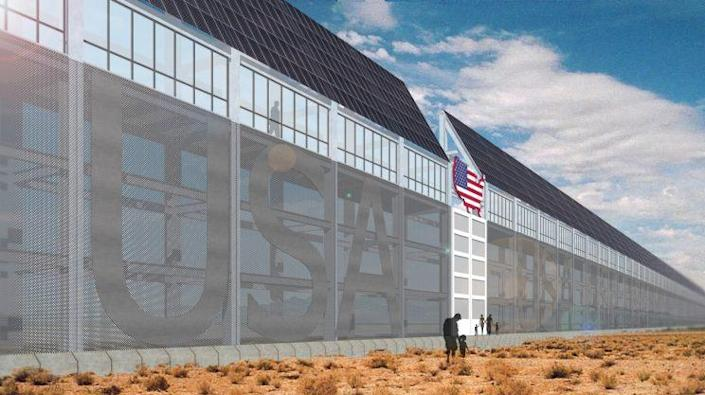An artist's rendition of what President Trump's proposed wall would like, according to his stated specifications. (C. Huff for Yahoo News)